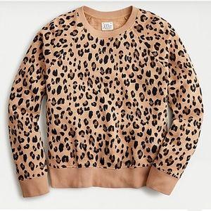 NWT J. Crew Vintage Cotton Terry Crewneck Leopard